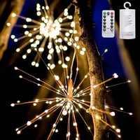 120-200 Leds suspendus Starburst chaîne lumières fée bricolage feu d'artifice fil de cuivre lumières de noël guirlande pour fête décor à la maison