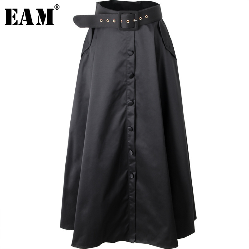 [EAM] 2020 New Spring Summer High Waist Long Button Bandage Loose Belt Temperament Half-body Skirt Women Fashion Tide JY507