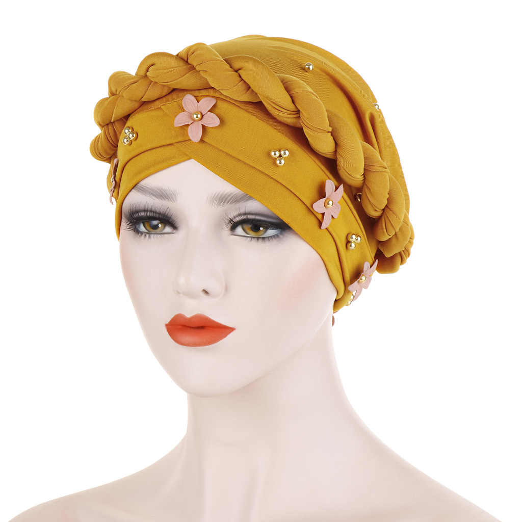 Women Fashion Flower Muslim Scarf Hijabs Hat Women India Hat Turban Hat Wrap Cap Head Scarf Headscarf Hat Women Hair Accessories