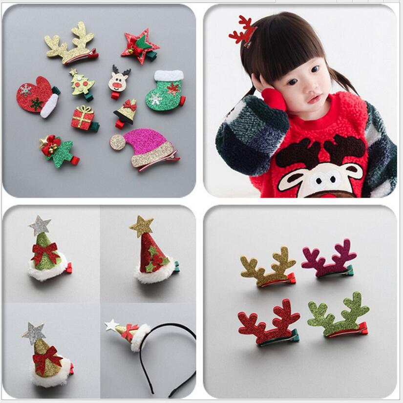1-8pcs Xmas Hair Accessories Christmas hair clip Elk horn barrette santa hairband rubber band for kids Girl Teen Toddlers Gift women girl bohemia bridal camellias hairband combs barrette wedding decoration hair accessories beach headwear