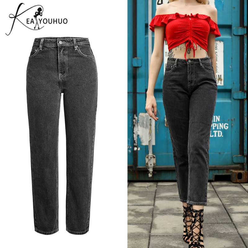 2018 Black Dark Gray High Waist Boyfriend   Jeans   For Women Trousers Vintage Denim Pencil   Jeans   Woman Pants Plus Size Mom   Jeans