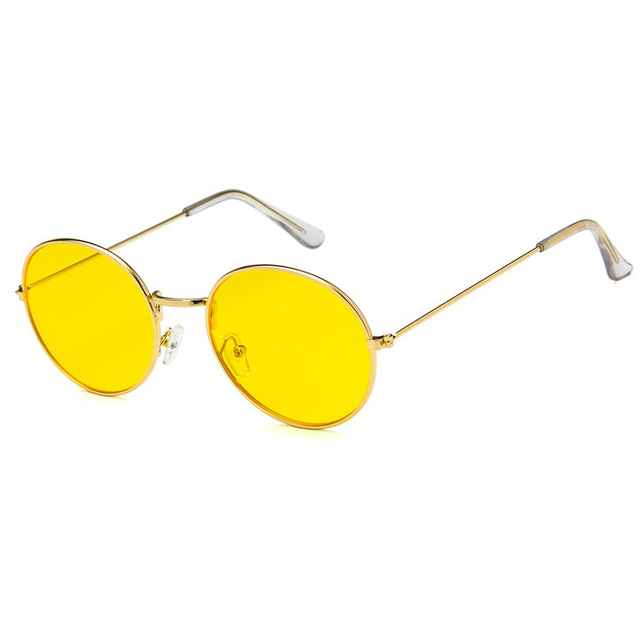 9db80eee8b8f Brand Designer Women Round Sunglasses Men Fashion Vintage Metal Frame Ocean Sun  Glasses Yellow Pink Tinted