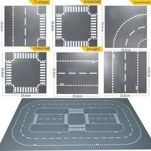 Городская дорога улица опорная плита прямой перекресток кривая Т-образная развязка строительные блоки 7280 7281 Базовая пластина совместима с LegoINGlys City