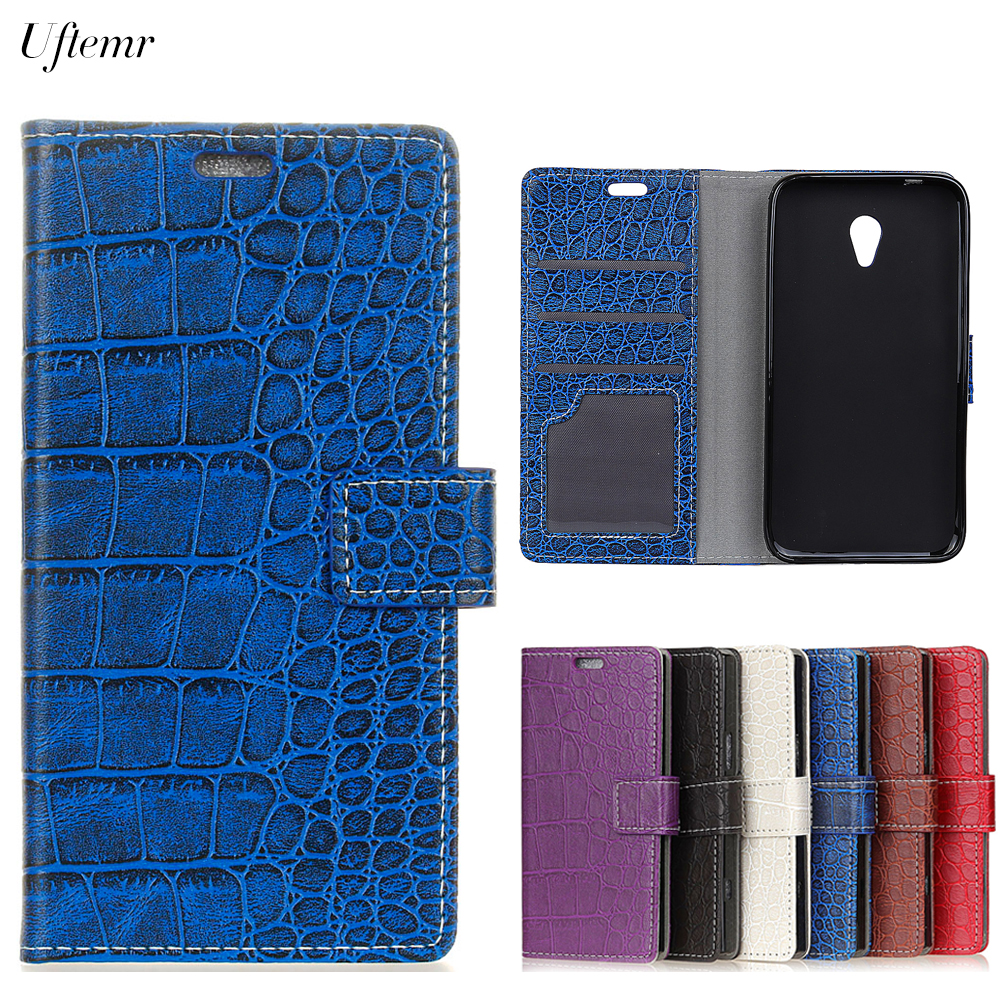 Uftemr Vintage Crocodile PU Leather Cover For Alcatel U5 4G Protective Silicone Case Wallet Card Slot Phone Acessories