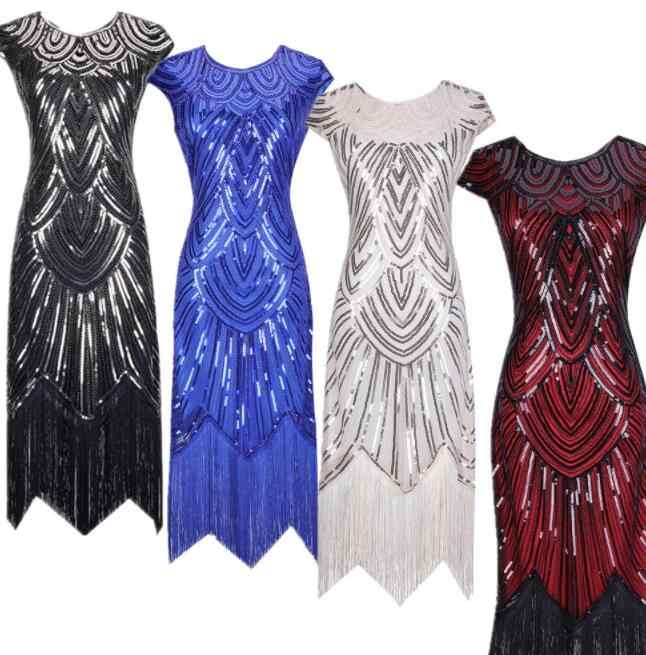 2019 new color Vintage 1920s Flapper Great Gatsby Dress O-Neck Cap Sleeve Sequin Fringe Party Midi Dress Vestidos Verano