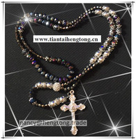 8mm Black Blingbling Crystal Rosary Necklace Glass Bead Rosary Necklace Special Offer