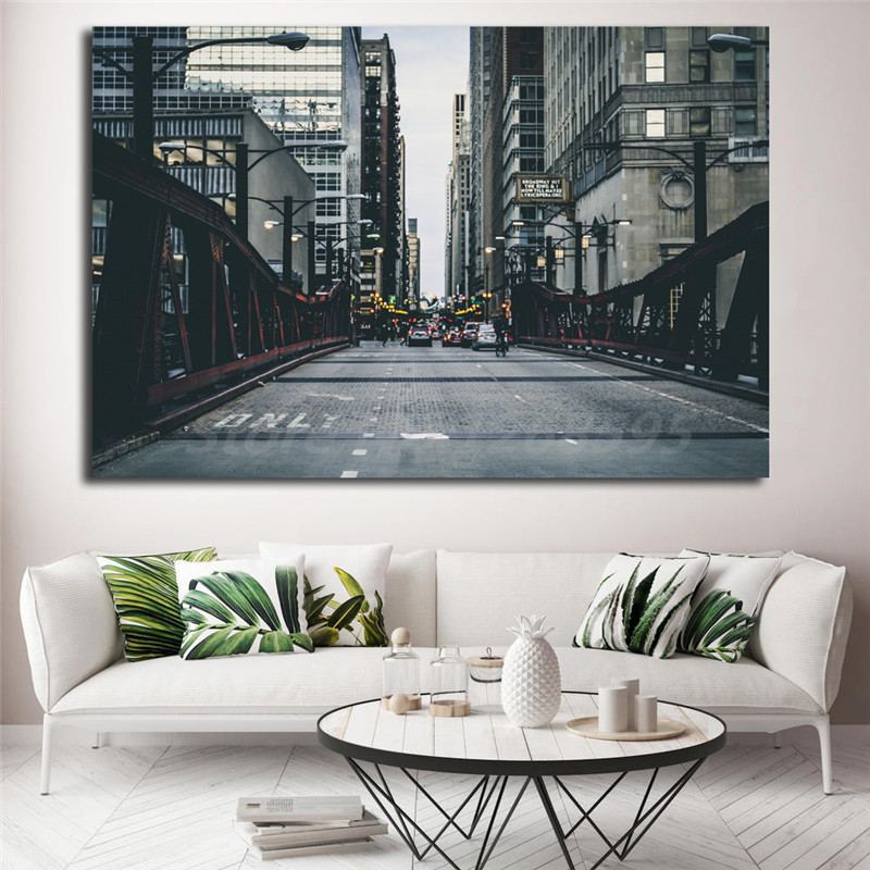 New York City Modern Canvas Painting Print Picture Home: Bridge Chicago Cityscape New York City Road HD Wallpaper