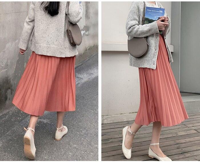 Surmiitro Elegant Solid Midi Pleated Skirt Women 19 Autumn Winter Ladies Korean High Waist A-line School Long Skirt Female 13