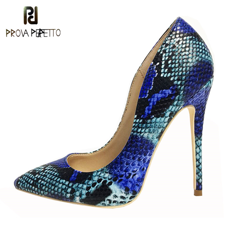 Prova perfetto 2019 New Arrival Women Shoes Blue Snake Printed Sexy Stilettos High Heels 12cm 10cm