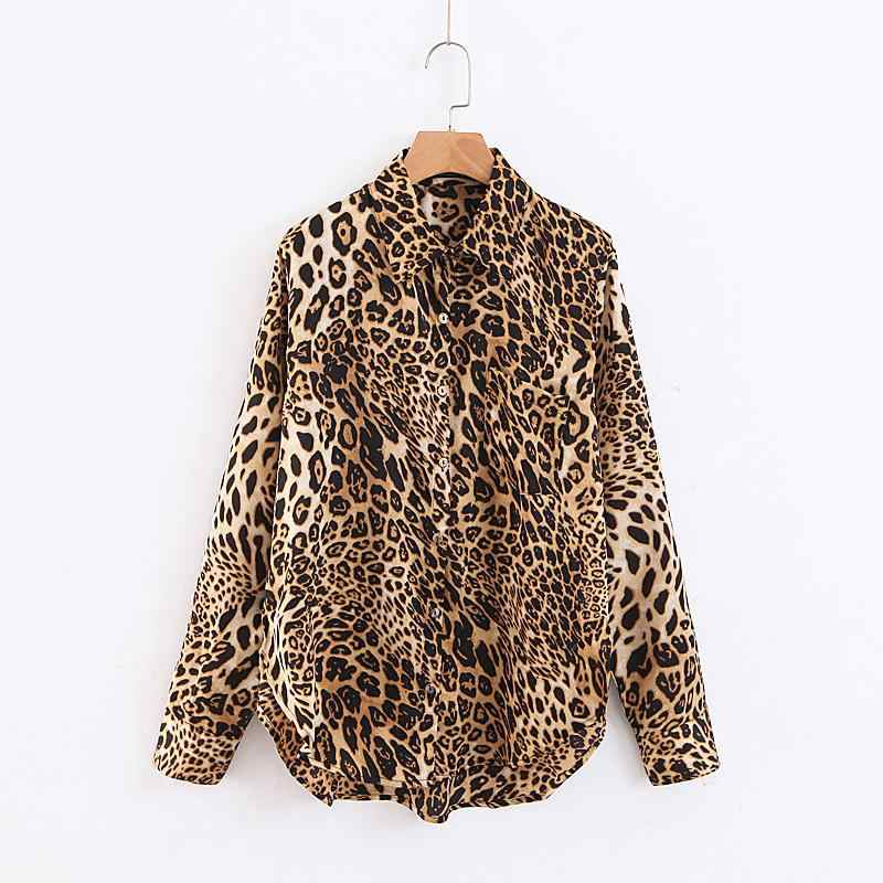 de0d9b36b509 ... Women Animal Print Leopard Oversize Shirt Sexy High Split Blouse Long  Sleeve Ladies Fashion Top Blouse ...