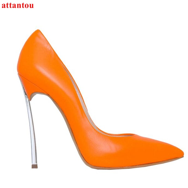 Orange Women Shoes Slip-on High Heels glaze surface metal thin heel pumps female wedding dress shoes pointed toe fashion outfits sexy women semi transparent lace high heels new 2017 ladies sequin shoes slip on thin heel pumps free shipping
