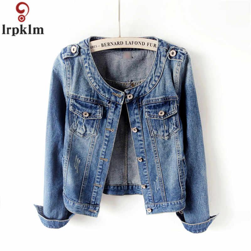 Весенне-осенние джинсовые куртки повседневное пальто Женская дикая тонкая короткая куртка большого размера с круглым вырезом и длинными рукавами джинсовая куртка CH174