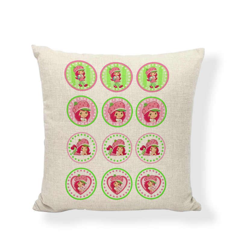 Venda quente Menina Dos Desenhos Animados Capas de Almofada Bolo de Morango Balão de Ar Quente Casa Relaxar Sofá de Linho de Algodão Decorativo Jogar Travesseiro Casos