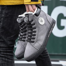 цена Fashion PU Snow boots men Winter Lace up Short plush Warm snow boots for male Soft Velvet shoes men Rubber Non slip онлайн в 2017 году