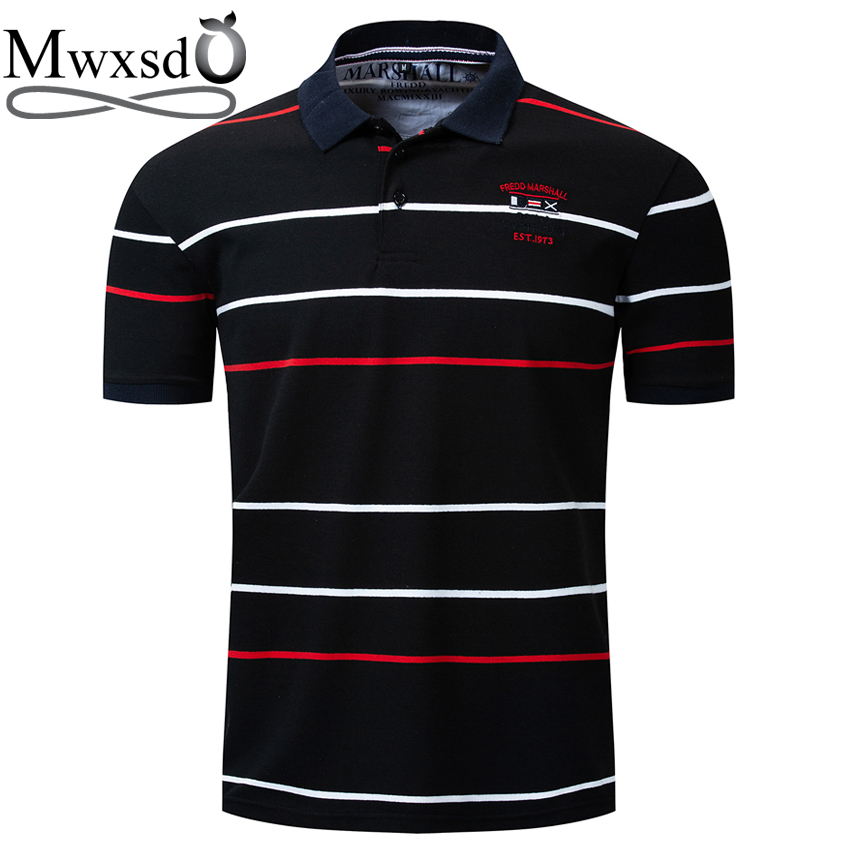 Mwxsd brand Euro size Summer Men Striped   Polo   Shirts high quality Men Cotton Poloshirts male breath soft Shirt Camisa masculina