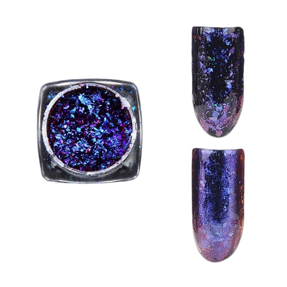1 Box Chameleon Flakes Shimmer Galaxy Nail Glitter Dust: 1 Box 0.2g Chameleon Flakes Nail Powder Bling Nail Flecks