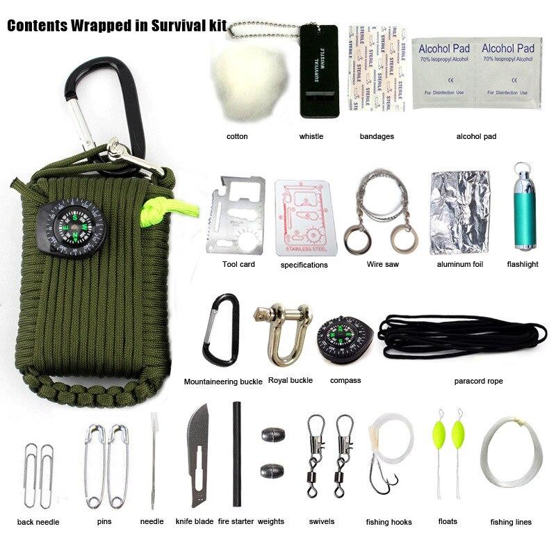 29 en 1 Herramienta de Escape Kit EDC Gear Paracord Supervivencia Acampar Al Air