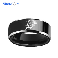 SHARDON Wedding Engagement Jewelry 8mm Black Beveled Two Toned Tungsten Ring Laser Oklahoma City Thunder Outdoor