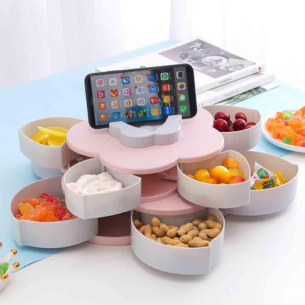 Double Deck Snack Storage Box Dish Food Snack Orgainzer Box Mobile Phone Holder