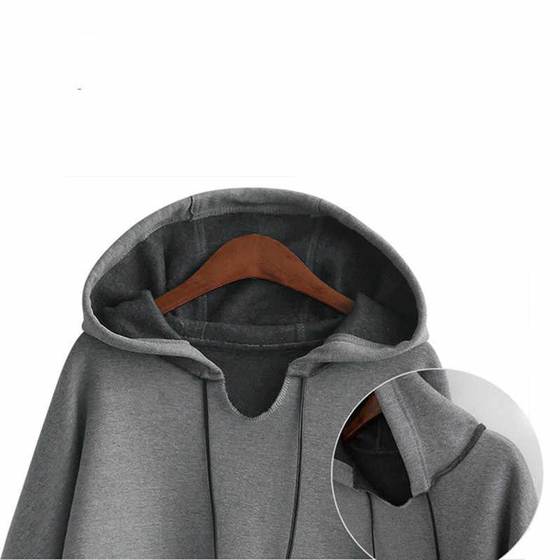 2017 осень-зима Для женщин длинные толстовки с капюшоном размера плюс 3Xl 4Xl XXXl однотонный серый флис теплый женский свитер с капюшоном