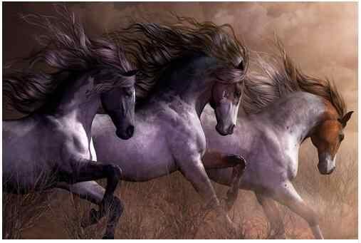 الخيول تشغيل البرية الطبيعية الحيوان الفن جدار ديكور الحرير طباعة المشارك