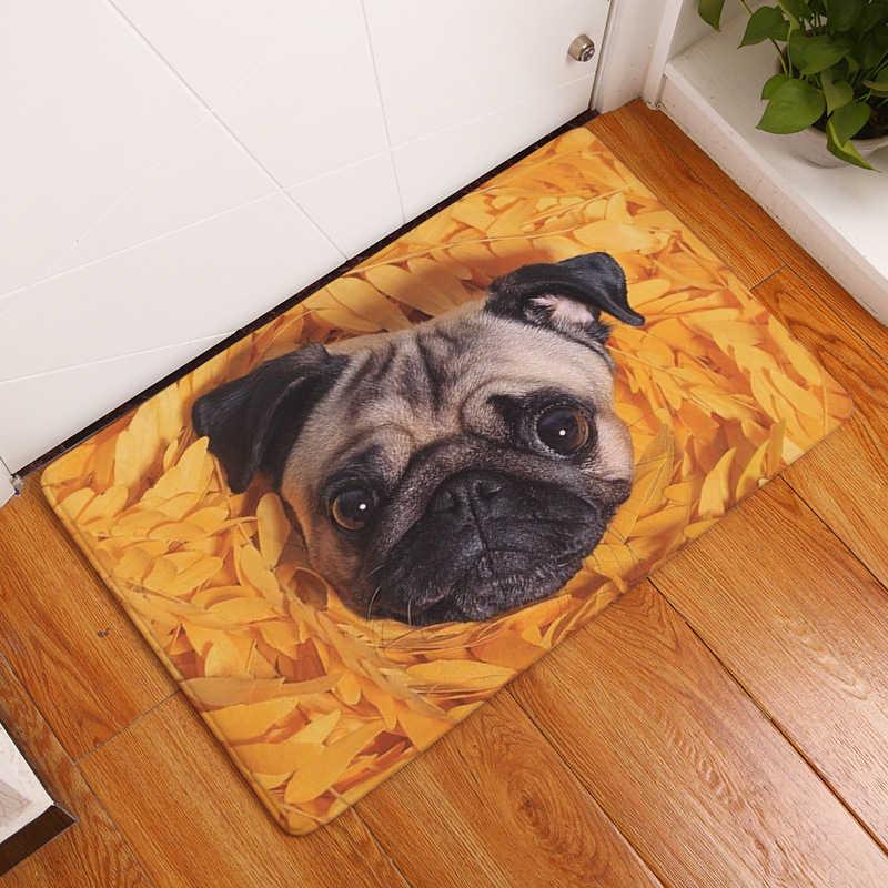 Novo Cão Pug Impressão Capachos Tapete Anti-slip Tapete Para Bebês Animais Pug 40 Tapete Tapete de Porta Da Frente * 60 cm/50*80 cm