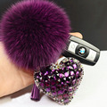 2015 fur pom pom keychain Fox Fur Key chain Double Side Crystal Heart Fur Ball Keychain llaveros porte clef fourrure For Bag
