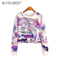 MITTELMEER New bts Harajuku printed Sweatshirt o-neck crop top Cartoon unicorn printing short Sweatshirt tops for women