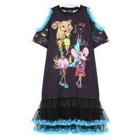 Korean Black Tshirt Dress Women S Summer Harajuku Kawaii Cartoon Animal Print Mouse Ruffle Dress With