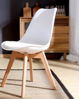 Soft PU Seat Plastic And Wood modern Classic Minimalist Style Cafe Loft Dining Chair Meeting Chair Desk Chair Office Chair