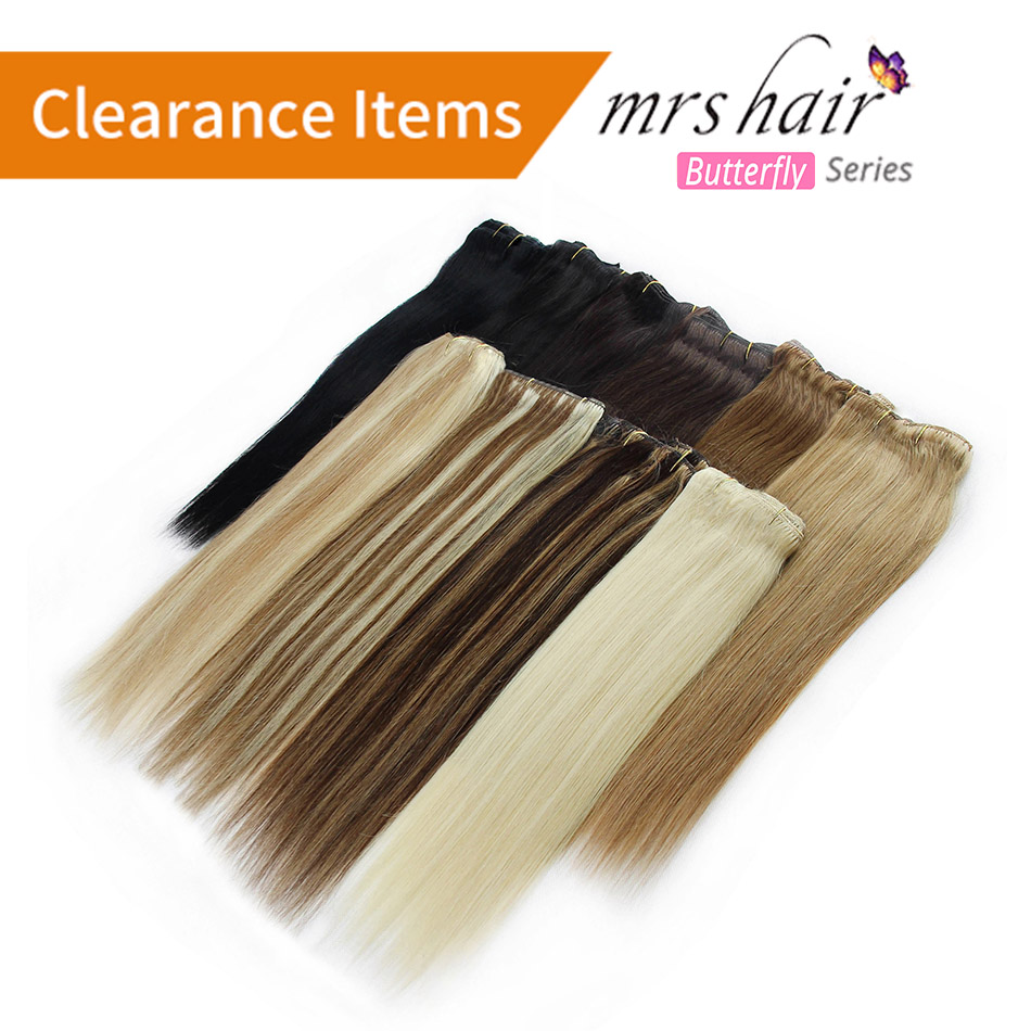 "MRS HAIR Clip In Hair Extensions 14"" 16"" 18"" 20"" 22"" 24"" Machine Made Remy Human Hair Clips Black Brown Blonde 100% Natural Hair"