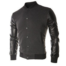 New men fashion leather collar jacket large size baseball clothing Stitching color youth uniform