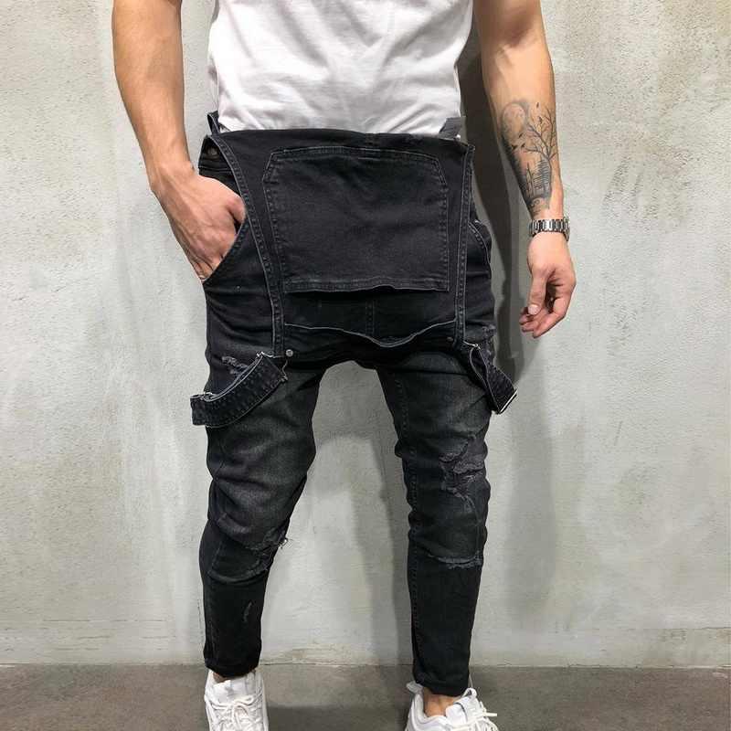 Mannen Ripped Denim Jumpsuit Overalls Jean Casual Bretels Broek Mannen Mode Hip Hop Jumpsuit Jean Bib Broek Streetwear