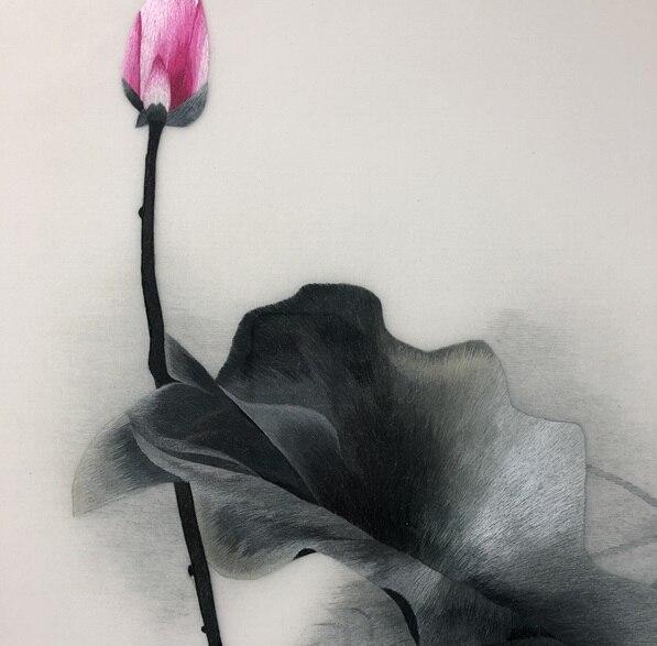 Fatti a mano 100% Seta Di Gelso Finito Suzhou Ricamo pittura a Inchiostro immagine di loto 40*60 centimetri-in Ricamo da Casa e giardino su  Gruppo 2