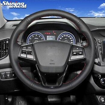 Shining wheat Black Genuine Leather Car Steering Wheel Cover  for Hyundai ix25 2014-2016 Creta 2016 2017