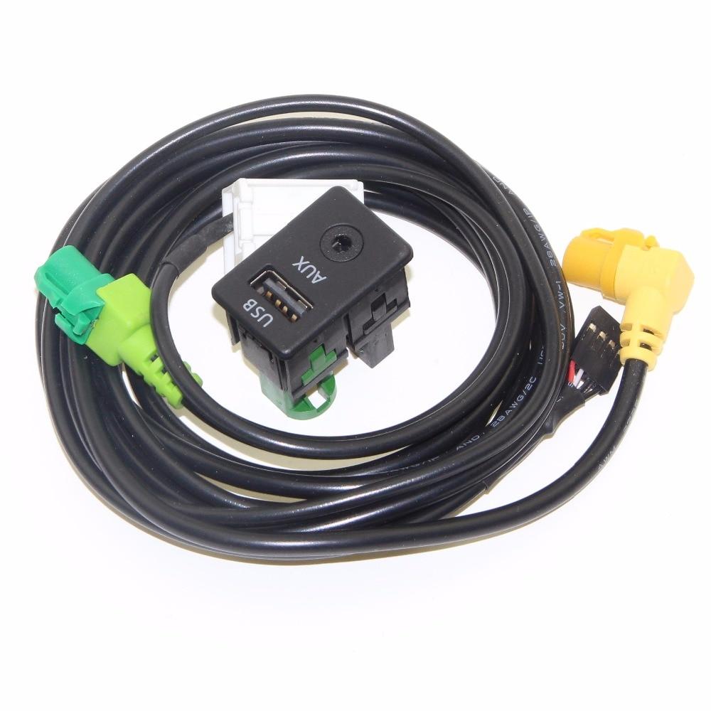 OEM Passat Tiguan Touran USB+AUX Switch Plug USB AUX Surface Housing+Cable For RCD510 3CD 035 249 A 3CD035249A ...