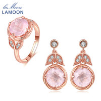 LAMOON 925 Sterling Silver Jewelry sets Plated S925 Drop Earrings classic flower 100% Natural Pink Rose QuartzV023 4