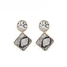 Handmade Vintage Snakeskin Drop Earrings For Women Geometry Round Square Leather earring Ethnic Statement Jewelry Gifts
