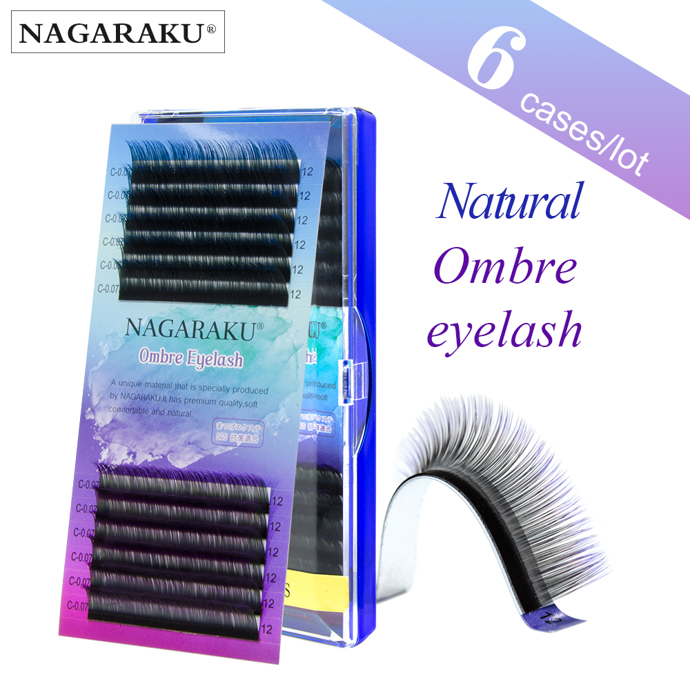 NAGARAKU 6 cases Ombre Color Purple blue Gradient rainbow color Individual eyelashes 0.07C eyelash extensions Premium soft mink