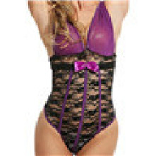 Womens Sexy  Lingerie Bodysuit Deep-V Collar One Piece Lace Babydoll Jumpsuit  x0309