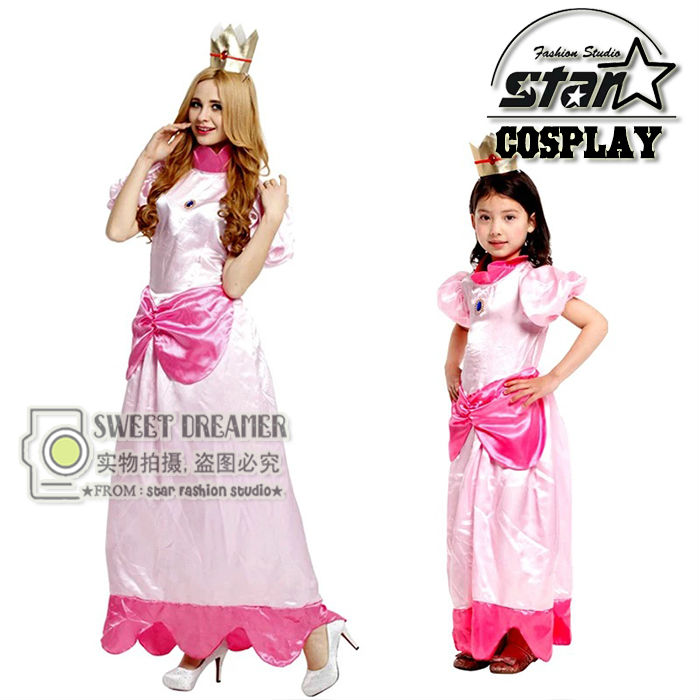 Princess Peach Costume Mother Daughter Family Matching Dress Super Mario Party Cosplay Halloween Costumes Pink Fancy Cute Dress sesame street blue cookie monster mascot costume fancy dress adult size halloween cosplay costumes