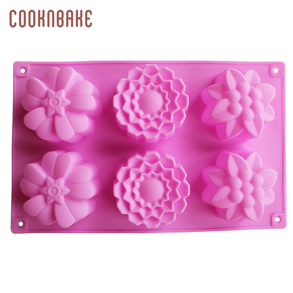 Silicond Mold for Cake, Handmade Soap, Chocolake, with 3 Different Flower 6 Cavity