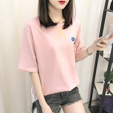 2019 Summer Women T-shirt Loose Embroidery Cartoon Print Casual Style Round Neck Short-sleeved Ladies
