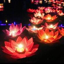 10pcs Romantic lotus lamps,wishing lantern water floating candle light,birthday wedding party decoration,Free shipping.