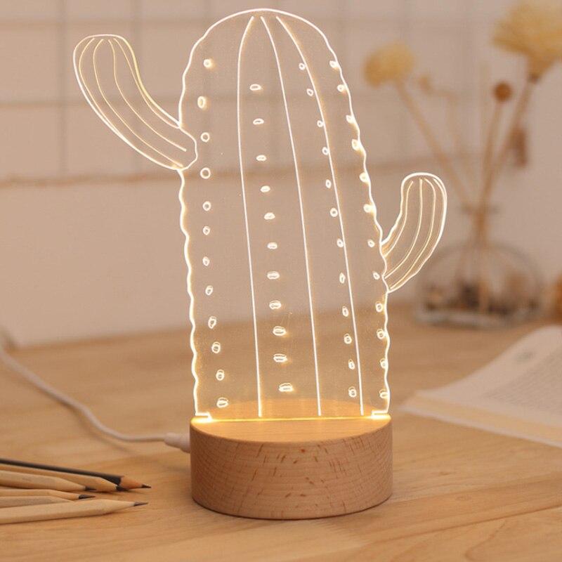 Hot Sales Creative Cactus Shape Atmosphere Lamp , And 3d Office Desktop Decoration Night Light