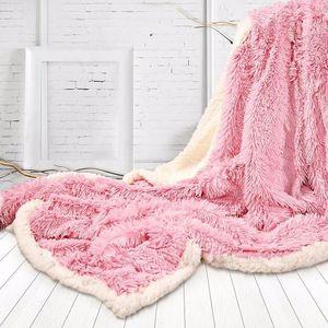 Super miękkie długie kudłate Fuzzy Faux narzuta ciepły elegancki przytulny puszysty koc typu Sherpa biały różowy szary pledy narzuta
