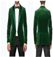 Velvet Jacket Groomsmenn Peak Satin Lapel Groom Tuxedos Green Mens Suits Wedding Best Man (Jacket+Pants+Tie)