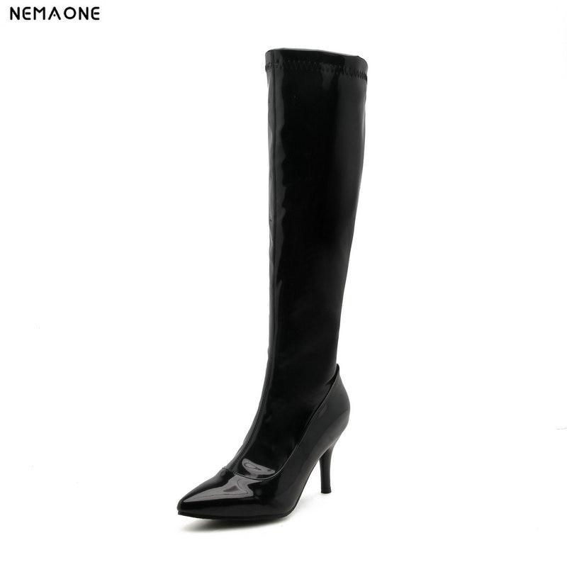 NEMAONE High Heels Sexy Knee high Boots Red High Heels Knight Boots PU Leather Women Nightclub Pole Dancing Boots