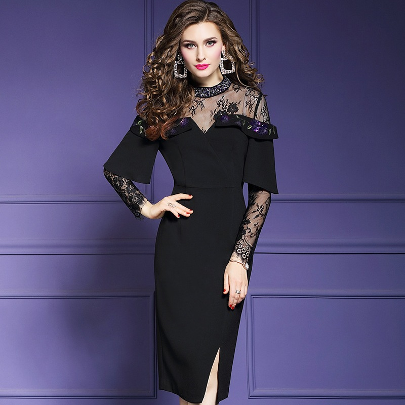 Office Lady beading dress Spring 2019 new Luxury Designer Women ladies sexy Slit Party Dress Plus