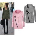 Женщины Зима Молния Блузка Толстовка С Капюшоном Куртки Пальто Пуловер